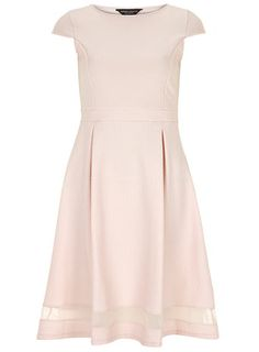 Pink sheer insert midi dress - View All New In - New In Fit N Flare Dress, Pink Color, Dress To Impress, Dresses Online, What To Wear, Style Me, Dresses For Work, Classy, Glamour