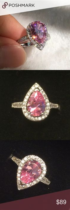 💕💎 Dazzling Pink Topaz S925 Ring 💍💕 💕👑 Brand new . Never worn . Size 6. Pink topaz tear -pear-shaped gemstone . 2.5 carat total weight . surrounded by tiny white diamonds . Encrusted  band. S925 stamp band sterling silver. Comes in black velvet gift box. Wrapped and shipped with care. Tracking always provided. Fire & Ice Jewelry Rings