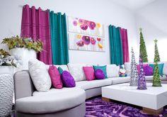 Una combinación juvenil para considerar en la decoración de la sala en esta navidad.