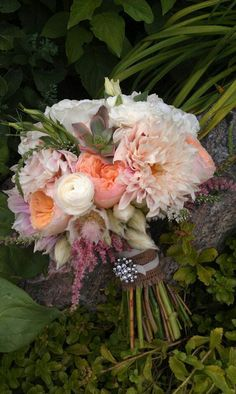"Pretty Wedding Bouquet: White Ranunculus, White Florals, Blushing Bride Protea, Pink Astilbe, Café Au Lait Dahlias, Peach ""Juliet"" David Austin English Garden Roses, Green Succulents Hand Tied With A Burlap Ribbon"