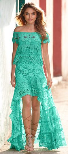 Lace green maxi dress