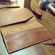 In the making of iPad mini case with card slot. #leathercraft #RomacBrothers&Co