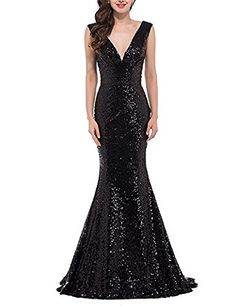Momoai Womens Sequins Bridesmaid Dresses V Neck Evening Dresses Mermaid Formal Party Gown Long M027 ** Be sure to check out this awesome product.