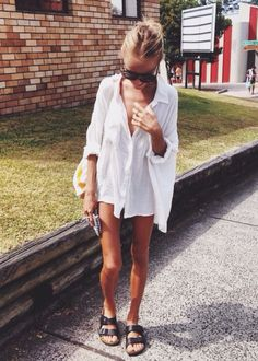 oversized button down + birks