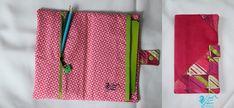 Trousse de coloriage, suédine fuschia et coton rose/vert