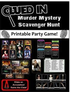 Clued-In Murder Mystery Scavenger Hunt - Printable Party Game Inspired by Clue (relay games scavenger hunts) Mystery Dinner Party, Dinner Party Games, Spy Party, Sleepover Party, Camping Party Games, Drunk Party, Neon Party, Work Party, Party Time