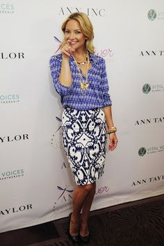 Kate Hudson in Ann Taylor www.wwd.com via Tumblr