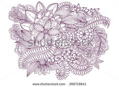 Floral doodles. Drawing flowers. Beautiful backdrop for invitation and party card. Floral design elements for your creative ideas