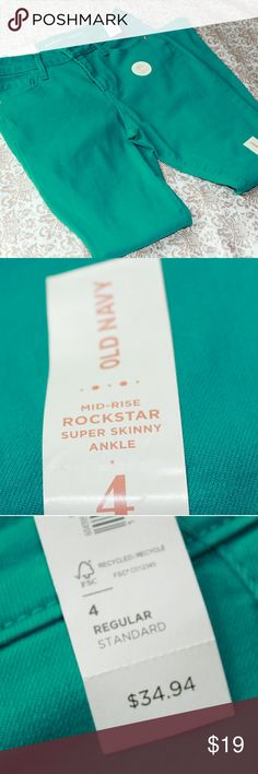 NWT Old Navy Turquoise Rockstar skinny jeans, 4 NWT Old Navy Turquoise midrise Rockstar super skinny ankle jeans, 4 Old Navy Jeans Skinny