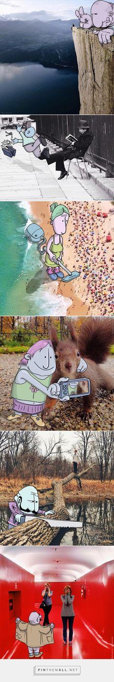 Lucas Levitan Adds Funny Cartoons To Strangers' Instagram Photos