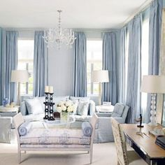 blue living room @ Home Design Ideas Living Room Paint, My Living Room, Home And Living, Living Room Decor, Blue Curtains Living Room, Cozy Living, Modern Living, Blue Rooms, White Rooms