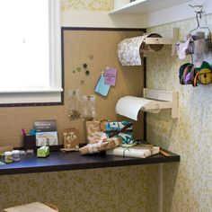 """foam core wrapped in batting and fabric and attached right to the wall - easy, fun, could really change up the look of room by changing fabric."""""""