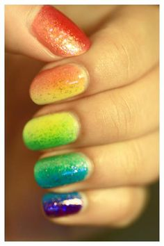 One of the prettiest versions of gradient rainbow nails I've seen! #nailtrends #summer #pride #manicure