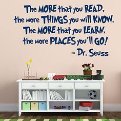 Dr Seuss Decal: The More You Read, Library Wall Art, Playroom Decal, Classroom Wall Art, Public Library, Dr. Seuss Nursery by CustomVinylDecorShop on Etsy https://www.etsy.com/listing/263815681/dr-seuss-decal-the-more-you-read-library