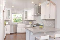 "Modern Kitchen with Pendant Light, Breakfast bar, Nina 29.5"" Bar Stool with Cushion, Glass panel, Ceramic Tile, Flush"