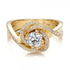Custom Yellow Gold and Diamond Engagement Ring - 100433 | Joseph Jewelry Seattle Bellevue