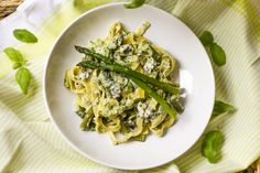 Tagliatelle with Asparagus, Zucchini in a creamy Ricotta-Blue Cheese Sauce