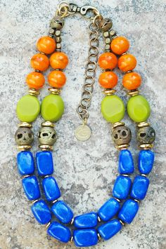 Aruba: Elegant and Bold Blue, Chartreuse, Orange and Gold Artisan Necklace Click to buy