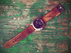 24mm Vintage Baseball Glove Watch Strap - my project 010 on strappedintime.com. Took a baseball glove from the 50s and turned it into a nice watch strap for Panerai or any other watch that has 24mm lugs. Vintage leather is gorgeous.