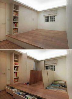 Awesome floor storage idea