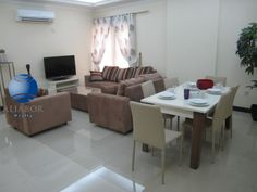 NO COMMISSION!!!  APARTMENT SPECIFICATIONS:  •	3 Bedroom ( 1 Master + 2 Bedroom)  •	2.5 Bathroom •	Big Hall •	Closed Kitchen •	Fully furnished •	Receptions Area •	Approximate gross internal area 110 sq. meter   COMPOUND AMENITIES:   •	Gym,Swimming Pool,Sauna,Steam room •	1 Underground Parking •	 24/7 Maintenance •	Security,Laundry,Grocery,Turkish sweet's shop  RENT INCLUDING'S:   •	Electricity,Water,Landline •	 Internet,Satellite  •	Approximate value of 300QR.   PRIME LOCATION:  The… Sauna Steam Room, Closed Kitchen, Money Change, Reception Areas, Property Management, Swimming Pools, Dining Table, Bedroom, Flats