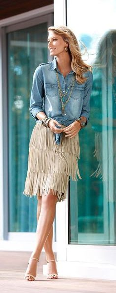 I didn't think I was old enough to like a look from Chicos!) Chicos Fringe Movement denim shirt and fringe skirt fashion Style Désinvolte Chic, Boho Chic, Style Casual, Mode Style, Casual Chic, Estilo Fashion, Look Fashion, Spring Fashion, Autumn Fashion