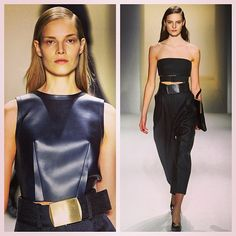 Sharp & slick silhouettes, black leather with emphasis on the waist Calvin Klein  #nyfw #mbfw #aw13 #runway #trends