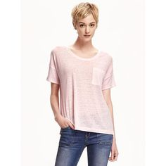 Old Navy Womens Boyfriend Linen Blend Tee ($12) ❤ liked on Polyvore featuring tops, t-shirts, pink, drop shoulder tops, pink tee, lightweight t shirts, pink tops and short sleeve tee