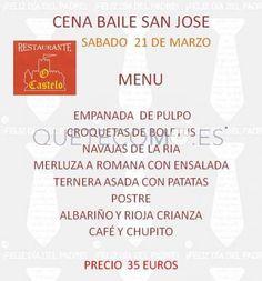Cena baile San José, Sábado 21 de Marzo de 2015   Hotel Restaurante rústico O Castelo en Muros, A Coruña