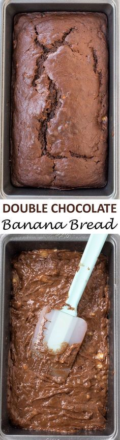 The BEST Double Chocolate Banana Bread. Super moist, soft and chocolatey! Loaded with tons of chocolate chunks!   http://chefsavvy.com #recipe #chocolate #banana #bread