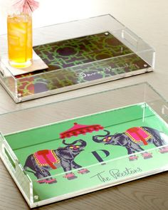 Personalized Lucite Trays by iomoi.  Love these!