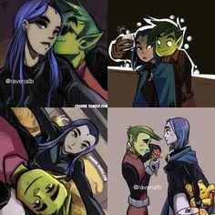 Beast boy and Raven Teen Titans Love, Teen Titans Fanart, Marvel Dc Comics, Anime Comics, Justice League Show, Raven Beast Boy, Demon Days, Bbrae, Arte Pop