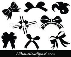 Christmas Ribbon silhouettes clip art Pack - Silhouette Clip Art