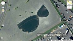 Bikini or sunglasses on a parking lot seen from Google Maps satellite images.