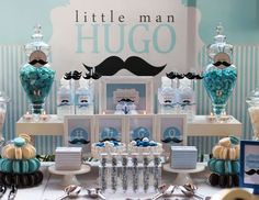 "Blue; Silver; White and Mustache / Birthday ""HUGO's mustache full moon celebration"" 