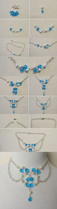 Chain Necklace Designs-How to DIY a Blue Glass Bead and Pearl Beaded Chain Necklace from LC.Pandahall.com