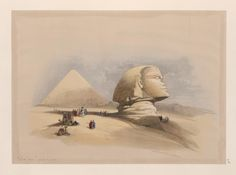 The Great Sphinx, Pyramids of Giza. [Side view of the Great Sphinx.] (1846-1849) by David Roberts