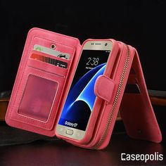 Leather Magnet Release Multi Function Zipper Wallet Samsung Galaxy Case