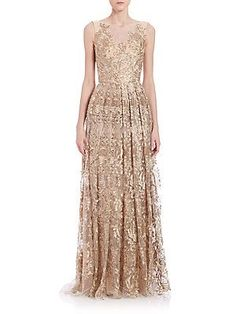Theia Embroidered Gown - antique Gold $1295