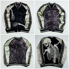 c2de30659cb0 Sexy Dope Black Vintage Japanese Japan SCRIPT Skeleton Rockabilly Punk Rock  Skulls Tattoo Art Embroidery Embroidered Bomber Sukajan Souvenir Jacket