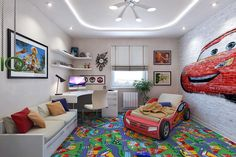 Комната в стиле тачки для мальчика