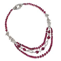 Ruby bead and diamond necklace, circa 1920 | lot | Sotheby's