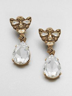 Oscar de la Renta Swarovski Crystal Panther Earrings