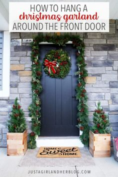 Learn how to hang outdoor Christmas garland around your front door so your home will be looking beautiful and festive this holiday season! | #christmasdecor #holidaydecor #outdoordecor #outdoorgarland Outdoor Christmas Garland, Outdoor Garland, Diy Christmas Ornaments, Christmas Home, Christmas Ideas, Diy Outdoor Christmas Decorations, Porch Garland, Best Outdoor Christmas Decorations, Holiday Ideas