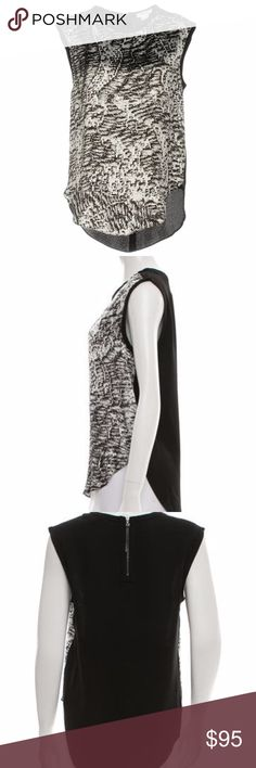 "Helmut Lang Abstract Print High Low Tank Black and White Abstract Print Sleeveless Tank size Medium/10  Black and grey Helmut Lang sleeveless top with scoop neck, abstract print at front and exposed zip closure at back.  Bust: 37"" Waist: 38"" Length: 27"" Condition: Pristine Fabric: 100% Viscose  Viscose fabric feels soft and smooth to the touch. It drapes around things very well.  Viscose has a silky appearance and feel, it breathes like cotton and has a good 'drape.' It's relatively light…"