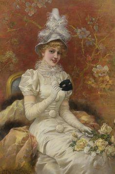 """""""Beauty Unmasked (1911)"""" by artist Emile Eisman-Semenowsky (1857-1911)."""