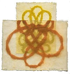 """Mari Andrews~PLEXUS, 1998  color softground etching on   Hosho paper coated in beeswax  9-1/2 x 9""""  edition 35"""