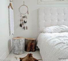 makuuhuone,diy sängynpääty,unisieppari,dreamcatcher,pölkkypöytä,talja