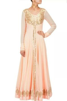 Prathyusha Garimela. PPUS. Peach & gold floor length