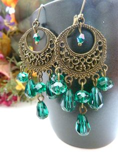 Vintage earrings teal green chandelier crystal by Dewdropsdreams, $18.00 https://www.etsy.com/listing/117461506/vintage-earrings-teal-green-chandelier